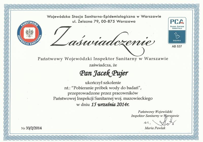 Certyfikat - Wojewódzka Stacja Sanitarno-Epidemiologiczna