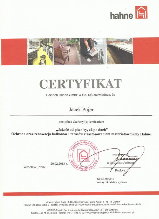 Certyfikat Hahne