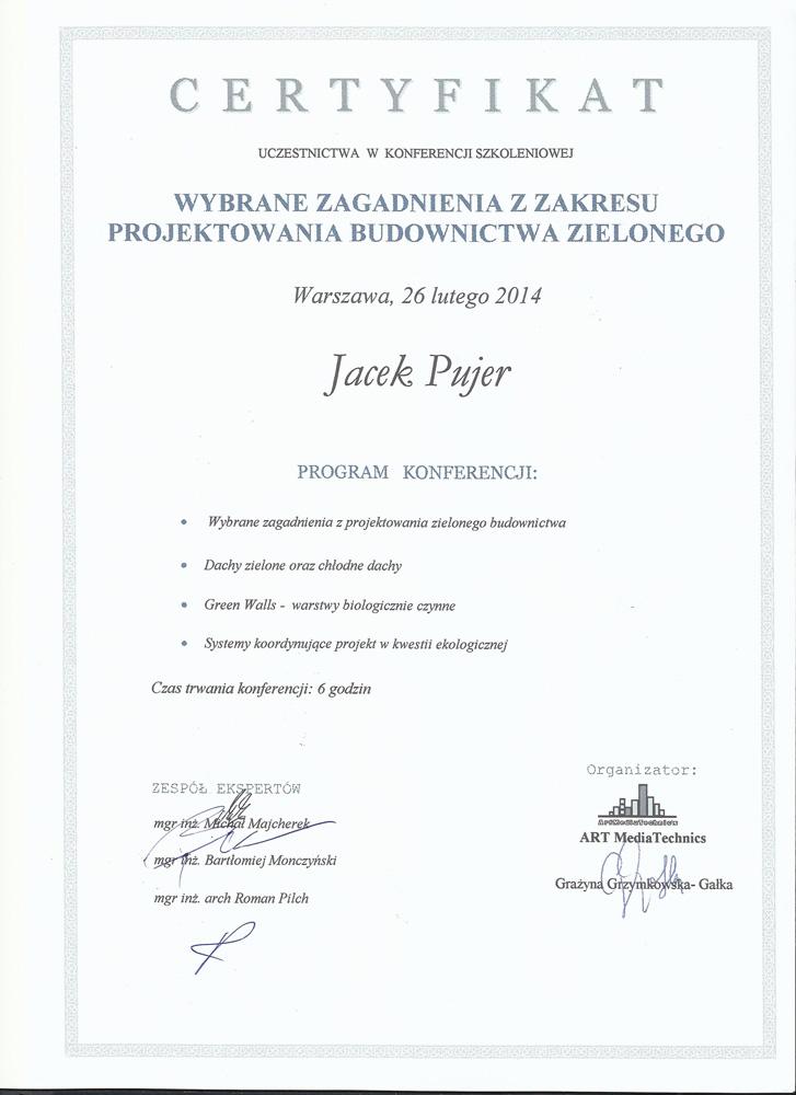 Certyfikat Budownictwo Zielone
