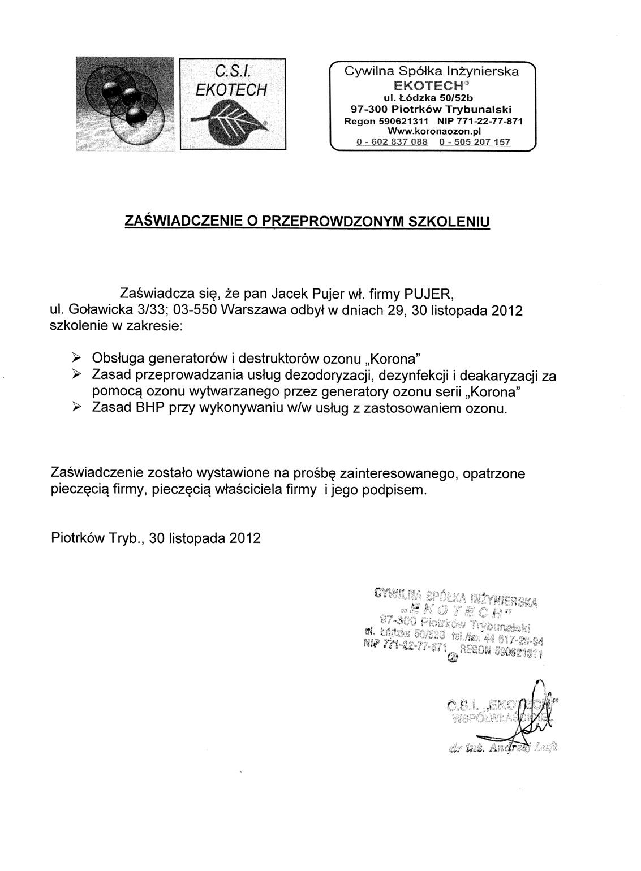 Certyfikat Korona
