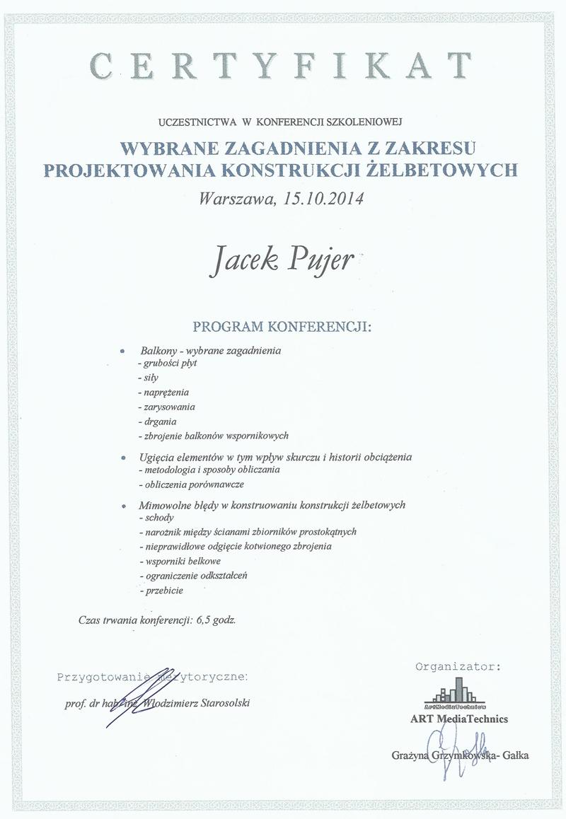 Certyfikat Projektowanie konstrukcji żelbetowych
