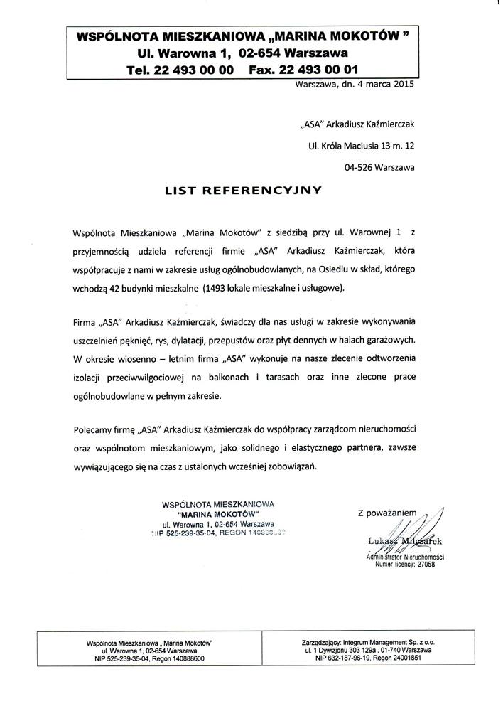 Referencje Marina Mokotów
